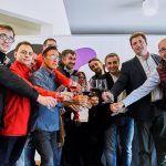 Brindis-David Palacios presidente del CRDO Navarra con miembros de AB Navarra